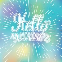 Hand lettering inspirational typography poster Hello summer on blurred backdrop.