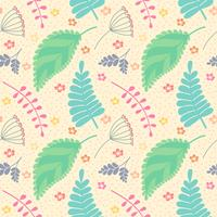 A seamless pattern with leaves and flowers.
