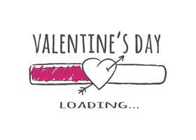 Barra de progreso con inscripción - carga del día de San Valentín y forma de corazón con flecha en estilo incompleto.