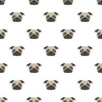 Seamless vector pattern with pug. Dog head flat icon repeating background for textile design, wrapping paper, wallpaper or scrapbooking.
