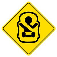 Sticker Baby on board. Symbol of a baby in car seat. Children safety sign for car window. vector