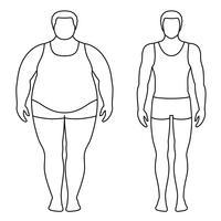 Vektor illustration av en man före och efter viktminskning. Manliga kroppskonturer. Framgångsrikt diet och sportkoncept. Smala och feta pojkar.