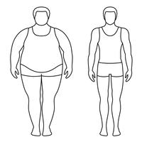 Vector illustration of a man before and after weight loss. Male body contours. Successful diet and sport concept. Slim and fat boys.