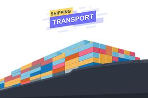 Transport van verzending. Internationale handel. Close-up ontwerp. Vector illustratie