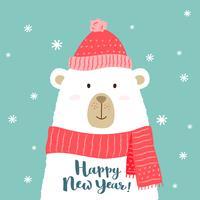 Vector illustratie van schattige cartoon beer in warme muts en sjaal met de hand geschreven Gelukkig Nieuwjaar groet voor borden, t-shirt prints, wenskaarten.