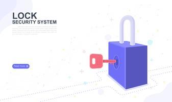 Lås säkerhetssystem. målsida grafisk design webbplats mall. Vektor illustration
