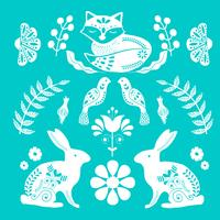 Scandinavian folk art pattern with tiny house, birds and flowers