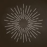 Vintage craie texturée rayons sur tableau noir. Élément de design sunburst linéaire dans un style rétro.