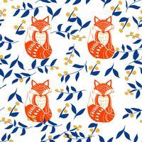 Art populaire scandinave avec renard, imitation de bloc d'impression de style nordique