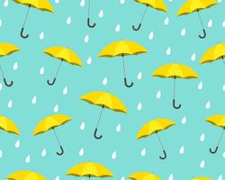 Seamless pattern of yellow umbrella with drops raining on blue background - Vector illustration