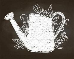 Chalk silhouette of vintage watering can with leaves and flowers . Typography gardening poster .