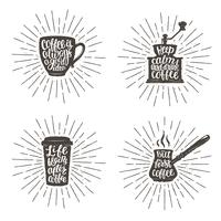 Coffee lettering in cup, grinder, pot shapes on sunburst background. Modern calligraphy  quotes about coffee. Vintage coffee objects  set with handwritten phrases and sturburst backdrop.