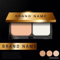 Anúncios de base compacta almofada, maquiagem produto essencial com textura isolada no fundo do brilho, ilustração 3d, - Vector