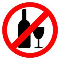 Geen alcoholteken. Alcohol drinken is een verboden pictogram.