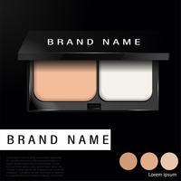 Anúncios de base compacta almofada, maquiagem essencial produto 3d ilustração - vetor