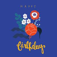 Flower meadow  background colourful vector Happy Birthday