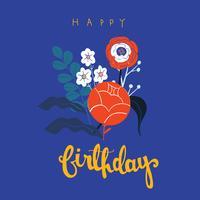 Vecteur coloré de fond fleur pré joyeux anniversaire