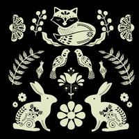 Scandinaviat folk art with fox, nordic style blockprint imitation vector