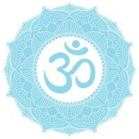 Aum Om Ohm-symbool in decoratief rond mandalaornament.