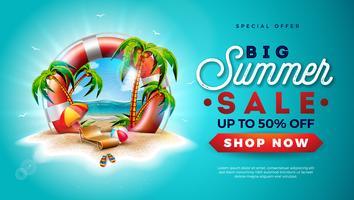 Conception de vente d'été avec bouée de sauvetage et palmiers exotiques sur fond d'île tropicale. Illustration d'une offre spéciale de vecteur avec fleur, ballon de plage, parasol et paysage de l'océan bleu