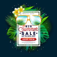Sommerschlussverkauf-Design mit Sonnenbrille und exotischen Palmblättern auf Tropeninsel-Hintergrund. Vektor-Sonderangebot-Illustration mit Feiertags-Elementen