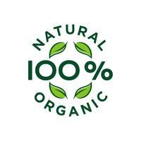 Projeto orgânico natural da ilustração do selo de 100 por cento. Vetor eps 10