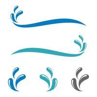 Diseño mojado azul de la ilustración de la plantilla de la insignia del agua del chapoteo. Vector EPS 10.