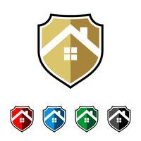 Huis Shield vector Logo Template Illustratieontwerp. Vector EPS 10.