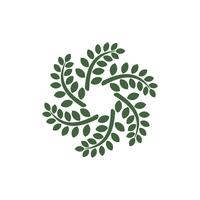 Gröna blad cirkel dekorativa logotyp mall illustration design. Vektor EPS 10.