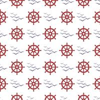 Nautical seamless pattern with wheel and birds.