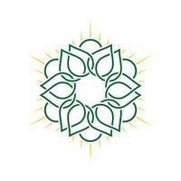 Grön linje Ornamental Flower Logo Mall Illustration Design. Vektor EPS 10.