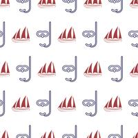 Nautical seamless pattern with ship and mask. vector