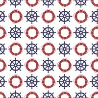 Nautical seamless pattern with wheel and ring lifebuoy.