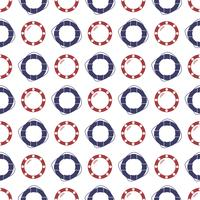 Nautical seamless pattern with ring lifebuoy and porthole.