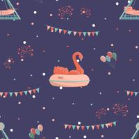 Amusement park seamless pattern with inflatable swan and ship ride.
