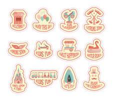 Vector amusement park sticker set. Kids theme.