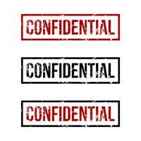 Logo de timbre en caoutchouc confidentiel Design Illustration Illustration. Vecteur EPS 10.