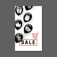 Sale banner design with air balloons and shopping symbols
