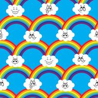 Rainbow, white clouds of emoticons. A seamless pattern for your ideas.