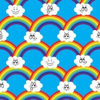 Regenbogen, weiße Wolken von Emoticons. Ein nahtloses Muster für Ihre Ideen.