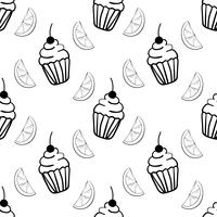 Bakery seamless pattern with cupcake and segment of lemon