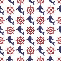 Nautical seamless pattern with wheel and whale.
