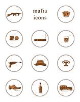 Collection of vector line art mafia icons.