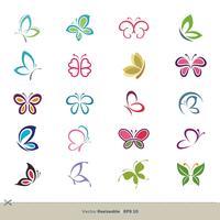 20 progettazione variopinta dell'illustrazione del modello di logo di vettore della farfalla. Vettore ENV 10.