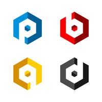 PBQD-Buchstabe im Hexagon-Form Logo Illustration Design. Vektor EPS 10.