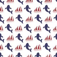Nautical seamless pattern with ship and whale.