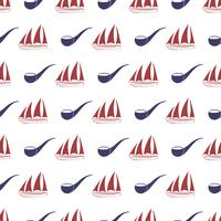 Nautical seamless pattern with ship and tobacco pipe.