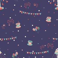 Amusement park seamless pattern with swing cups and carousel.