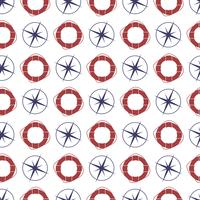 Nautical seamless pattern with compas and ring lifebuoy. vector