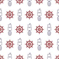 Nautical seamless pattern with anchor and porthole.